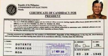 Duterte files candidacy for president today