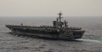 Two US carrier strike groups operating in Asia-Pacific