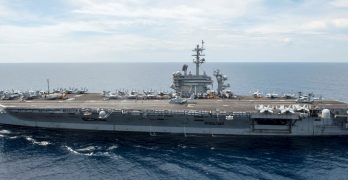 Pentagon chief visits aircraft carrier USS Roosevelt in West PH Sea