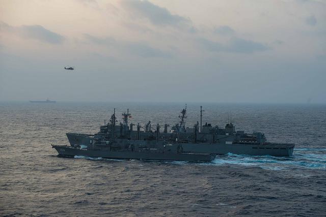 JS Samidare receives replenishment from USNS Rainier. US Navy photo