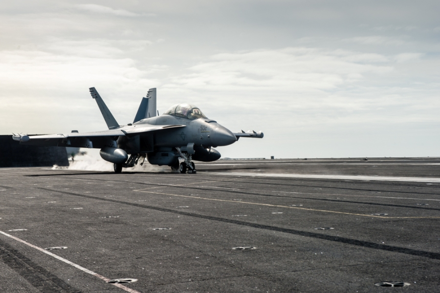 An E/A-18G Growler assigned to the Wizards of Electronic Attack Squadron (VAQ) 133 launches from USS John C. Stennis. US Navy photo