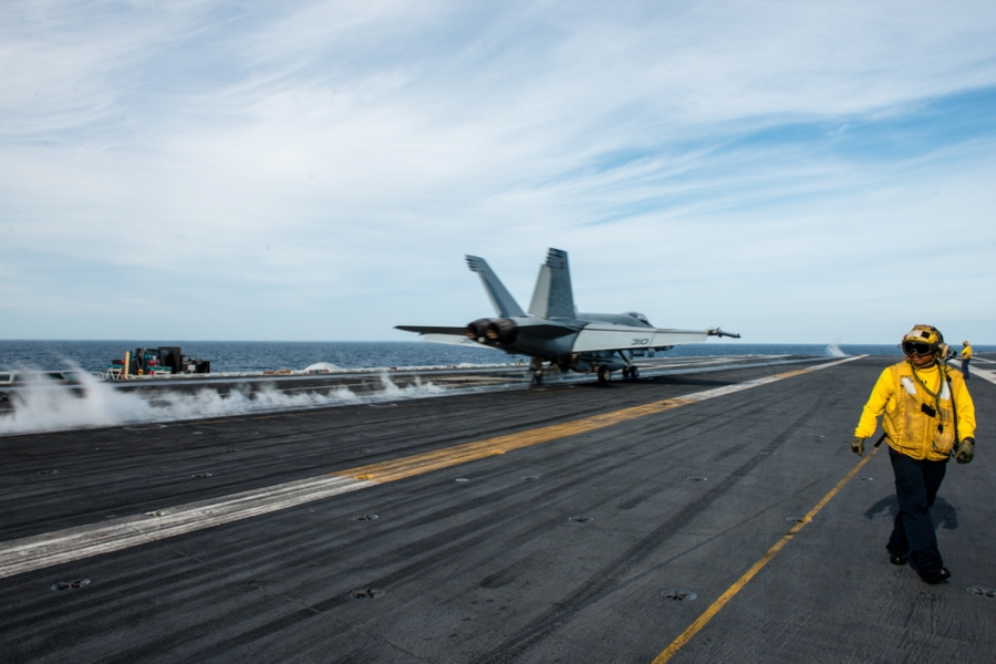 An F/A-18E Super Hornet assigned to the Warhawks of Strike Fighter Squadron (VFA) 97 launches from USS John C. Stennis. US Navy photo