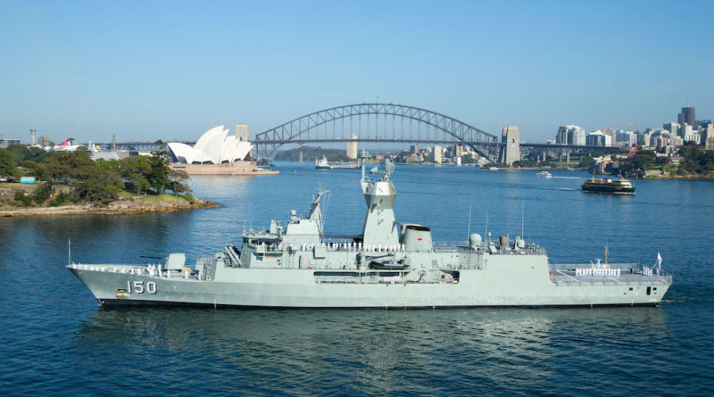 HMAS Anzac in Sydney Harbour as she makes her way to home port, Fleet Base East.