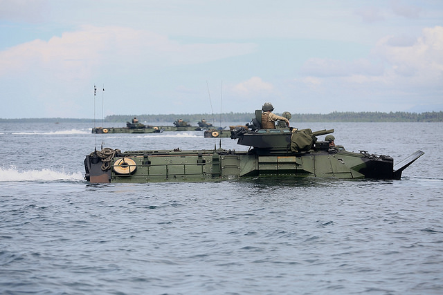 US Marines conduct an amphibious exercise with service members of the Philippine Marine Corps in West Philippine Sea, June 7. US Navy photo