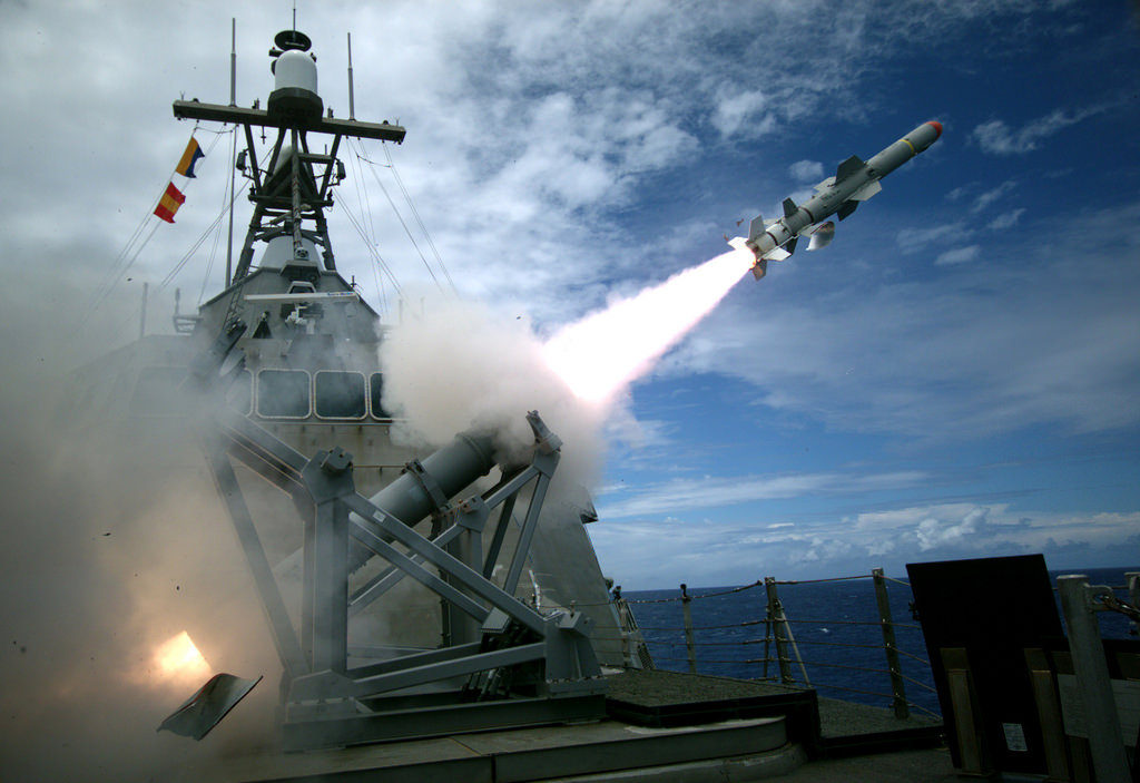 USS Coronado launches a Harpoon Block 1C missile for the first time during exercise Rim of the Pacific. US Navy photo
