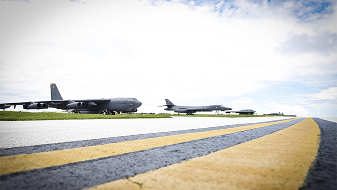 B-52 Stratofortress, B-1 Lancer and B-2 Spirit. Andersen Air Force Base, Guam, August 10. US Air Force photo