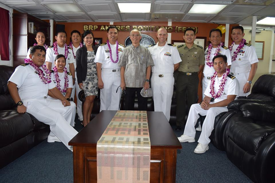 BRP Andres Bonifacio officials with Philippine Consulate representatives. FF-17 photo