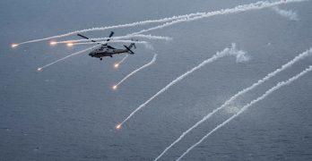 LOOK: US Navy Sea Hawk fires flares in Philippine Sea