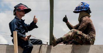 LOOK: American, Filipino soldiers working 'balikatan' to build classrooms