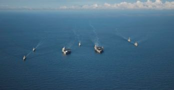 LOOK: US, UK aircraft carriers, warships sail together