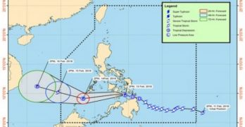 Tropical Depression Basyang slightly weakens over Bohol Sea