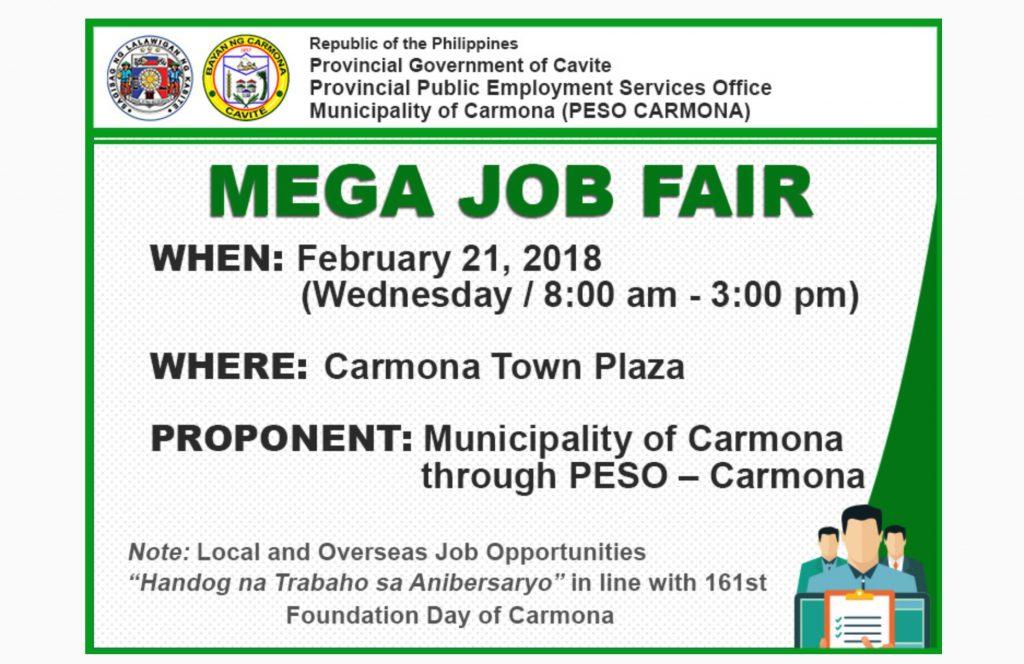 Over 1,000 jobs up in Carmona Mega Jobs Fair on Feb 21