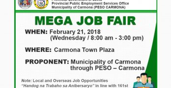 Over 1,000 jobs up in Carmona Mega Jobs Fair on Feb 21