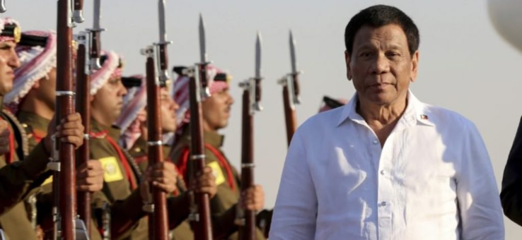 Duterte says he has acquired some arms from Israel and Jordan